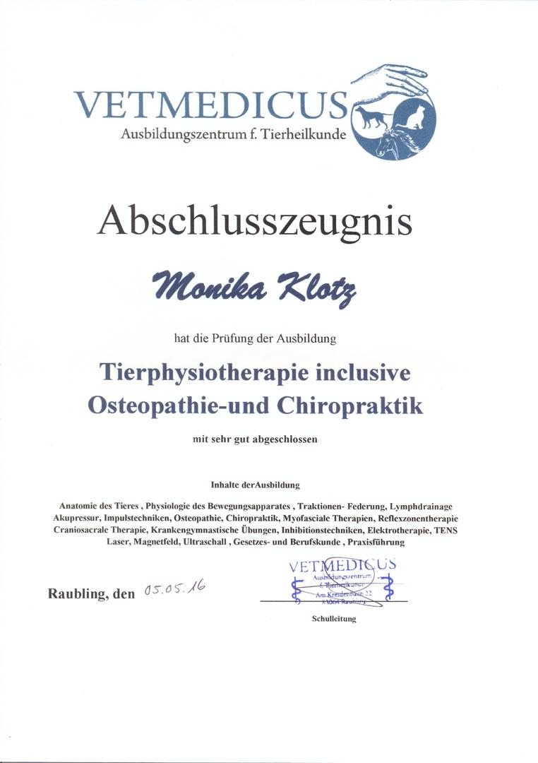 Tierphysiotherapie Monika Klotz, Holzkirchen - über mich